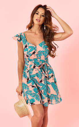 Pink And Green Palm Print Dress by Glamorous