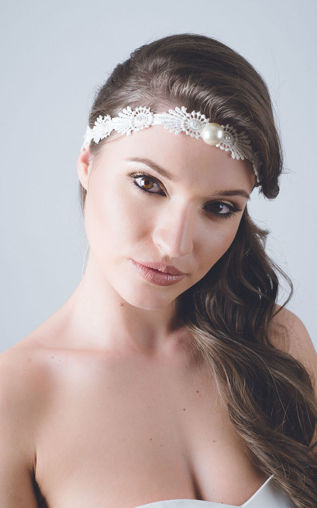 Vintage lace and pearl bridal headpiece by Kate Coleman