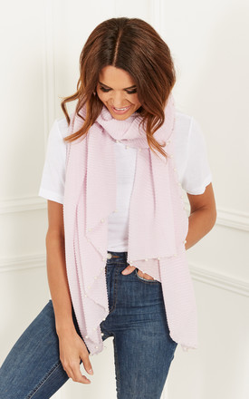 Pink Glitter Trim Pearl Scarf by Bella and Blue
