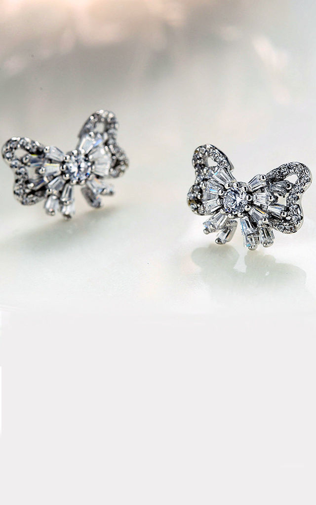 Kusuz Sterling silver Bow with CZ stud earrings. by Kusuz Silver Jewellery