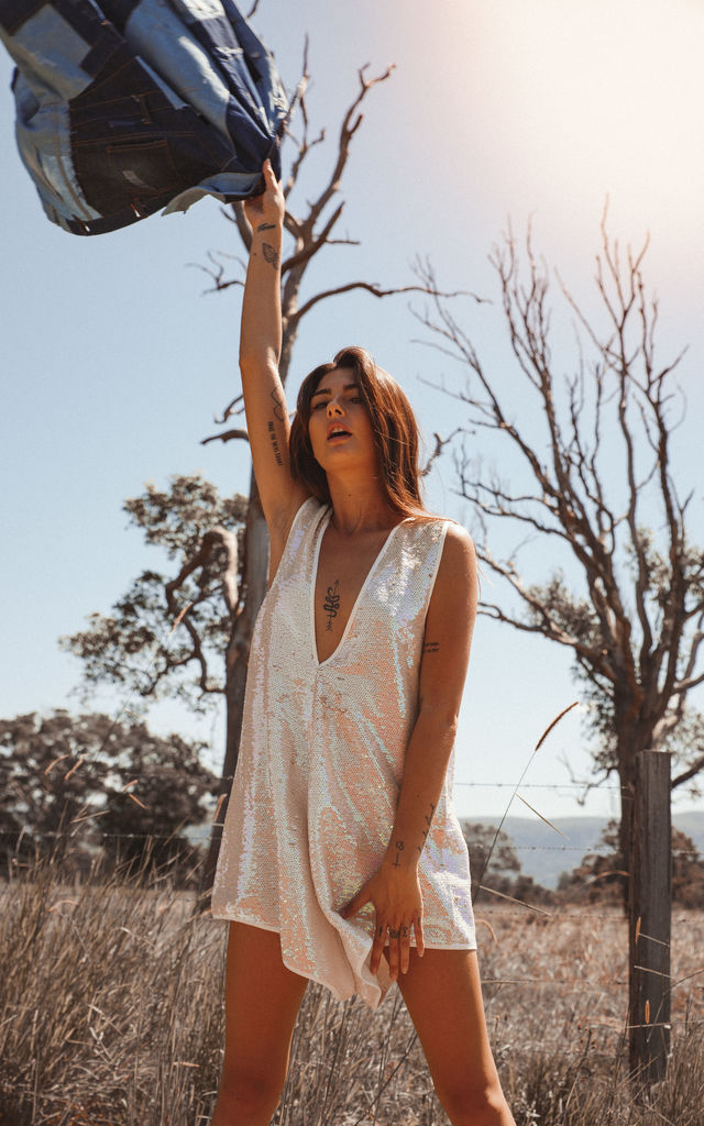 Pass the Salt White Iridescent Playsuit by Pass the Salt Clothing