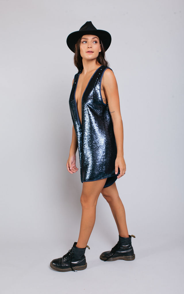 Pass the Salt Midnight Blue Sequin Playsuit by Pass the Salt Clothing