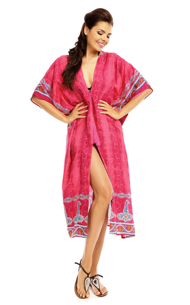 Summer Tribal Kimono Kaftan Cover Up in Pink by Looking Glam