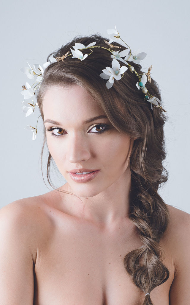 Gold dragonfly petal festival bride crown hair vine by Kate Coleman