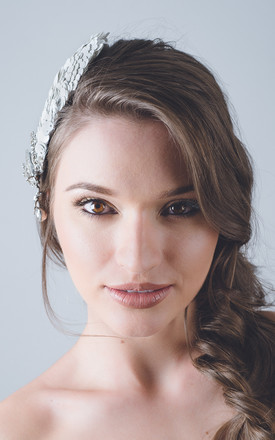Wedding white sequin droplet pear headpiece hat by Kate Coleman
