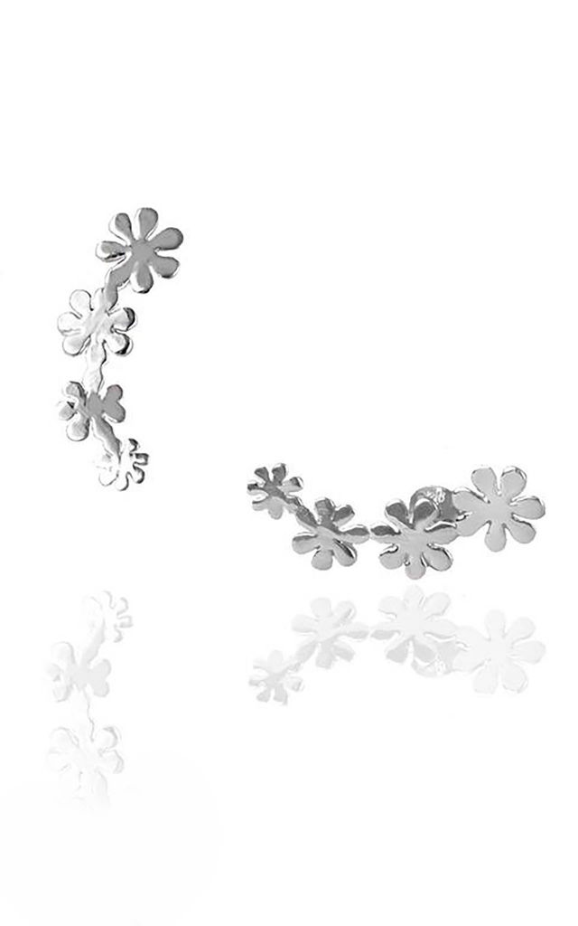 Sterling Silver Flower Stud Climbers by Martha Jackson Jewellery