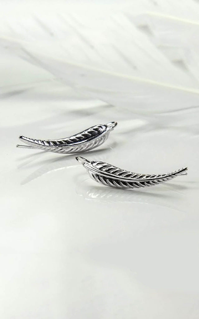 Sterling Silver Oxidised Fern Ear Climber by Martha Jackson Jewellery