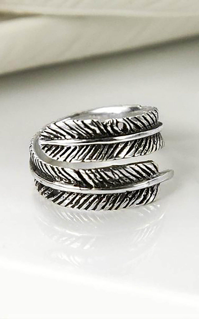 Sterling Silver Oxidised Feather Ring by Martha Jackson Jewellery