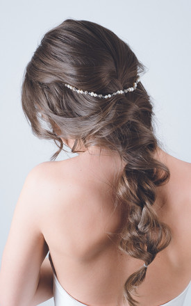 Delicate rose pearl headdress bridal crown by Kate Coleman