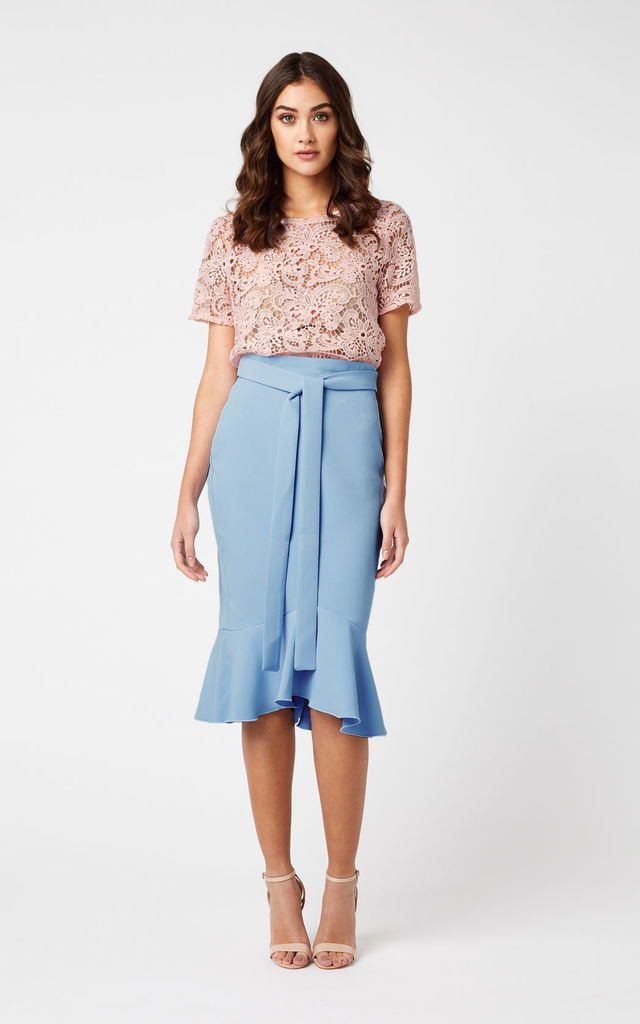 Vesper Sinita Frill Hem Pencil Skirt by Vesper247