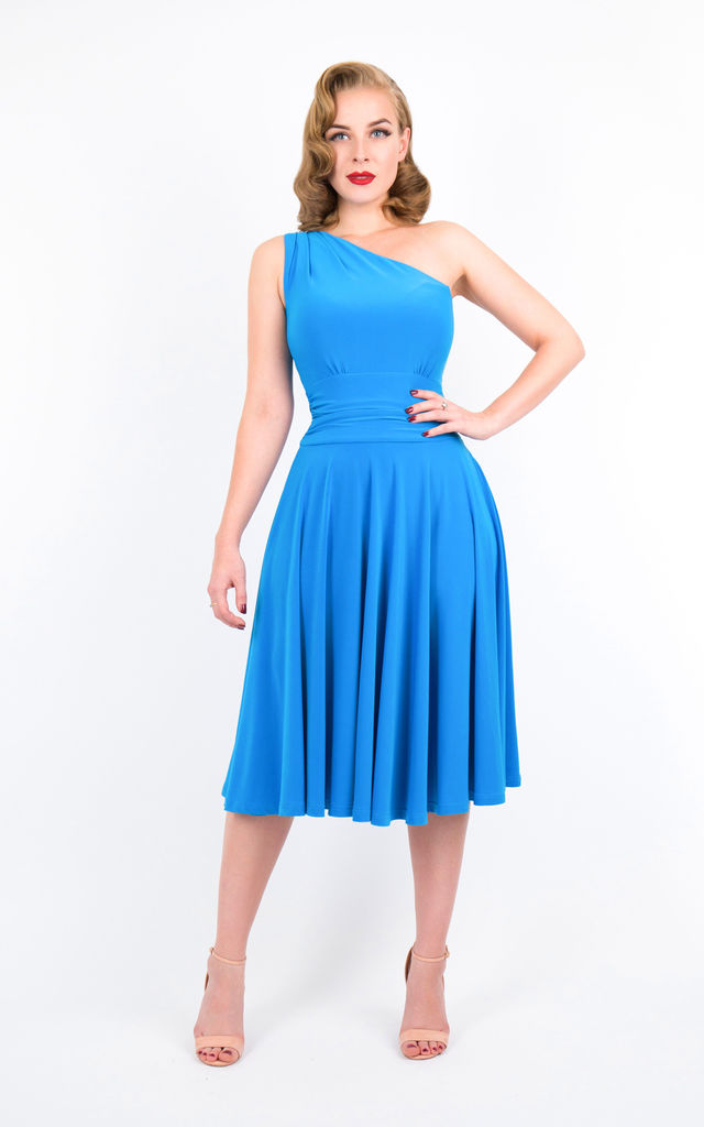 cb0438deb0f0 Blue Asymmetric Midi Evening Dress by Zoe Vine