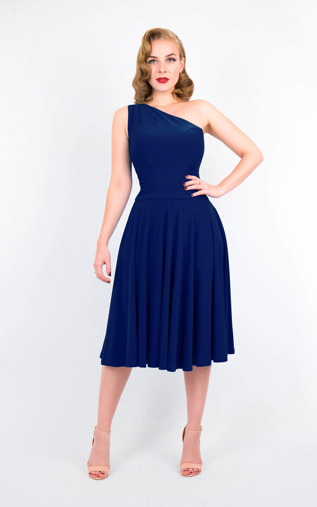 e432f6e42f33 Navy Asymmetric Midi Evening Dress by Zoe Vine