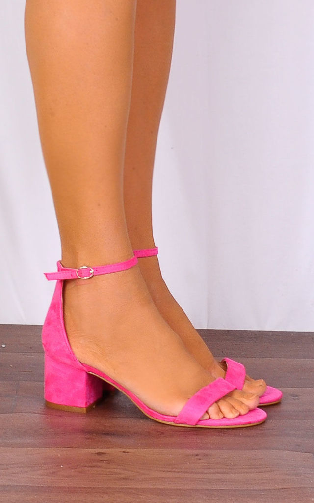 Bright Pink Low Heeled Ankle Strap Peep Toes Strappy Sandals by Shoe Closet
