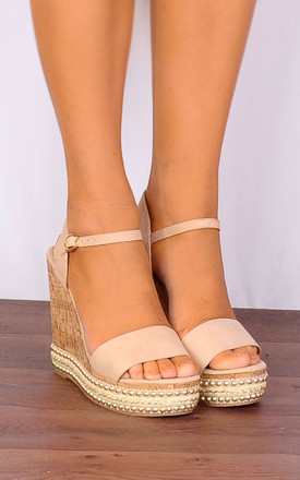 98dd95362116 Nude Corked Stud Wedged Platforms Wedges Strappy Sandals