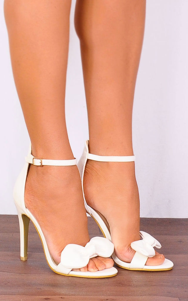 coupon codes get new good quality White Pu Bows Stilettos Ankle Strap Strappy Sandals High Heels By Shoe  Closet