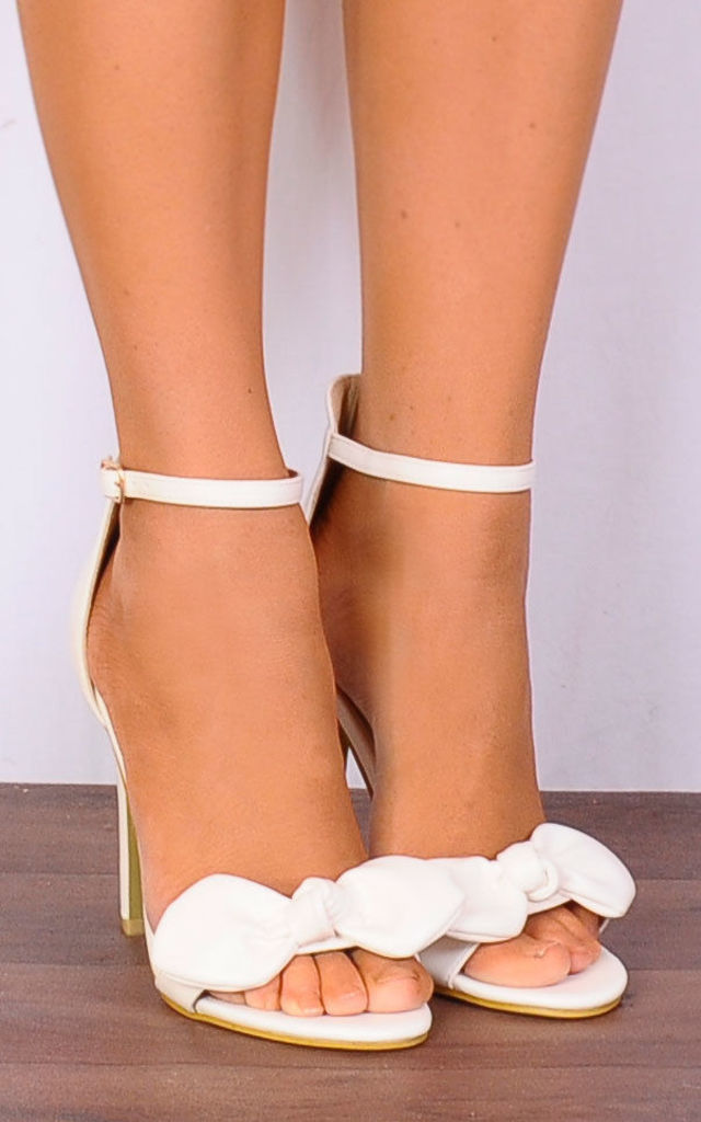 White Pu Bows Stilettos Ankle Strap Strappy Sandals High Heels by Shoe Closet