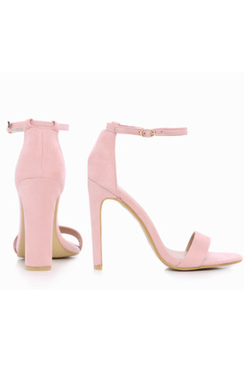 Light Baby Pink Ankle Strap Strappy Sandals High Heels by Shoe Closet