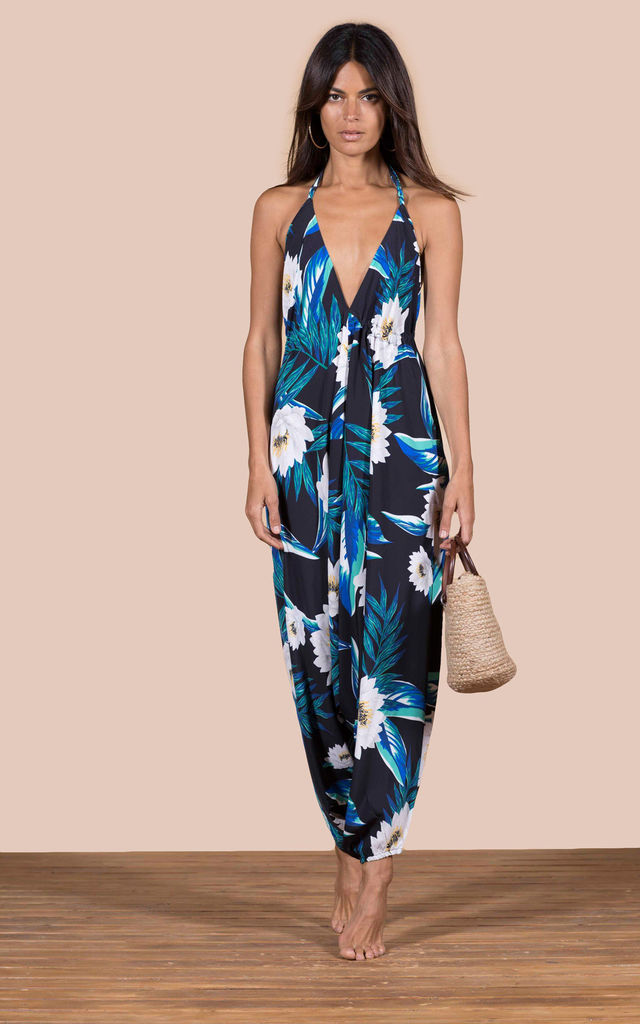 GENIE JUMPSUIT IN BLACK LOTUS TROPICAL image
