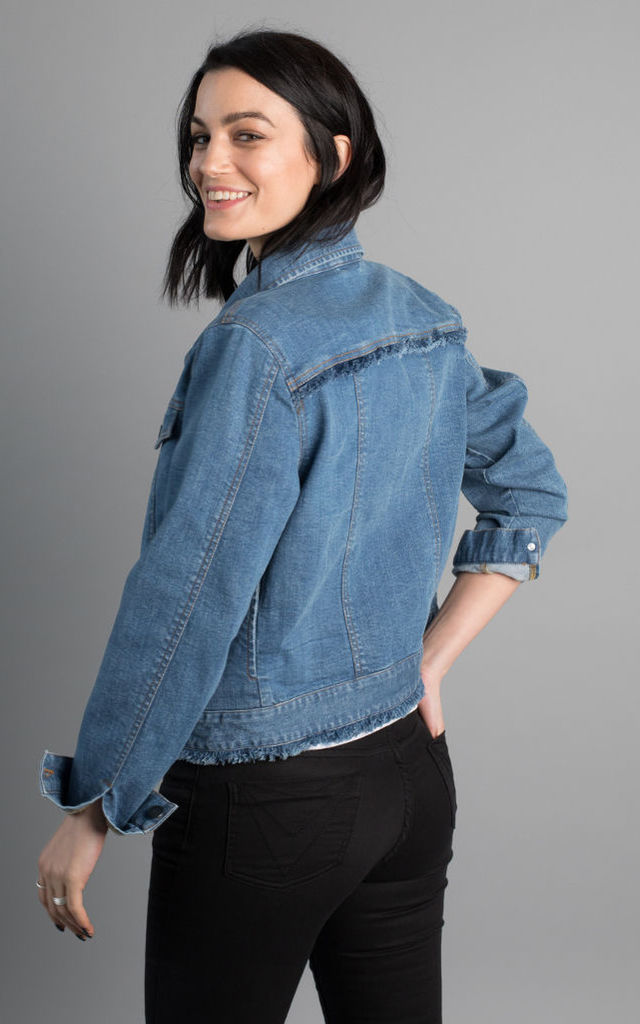 Kalahari denim jacket with raw edge detail by VILDNIS