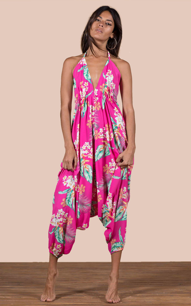 GENIE JUMPSUIT IN CERISE TROPICAL image