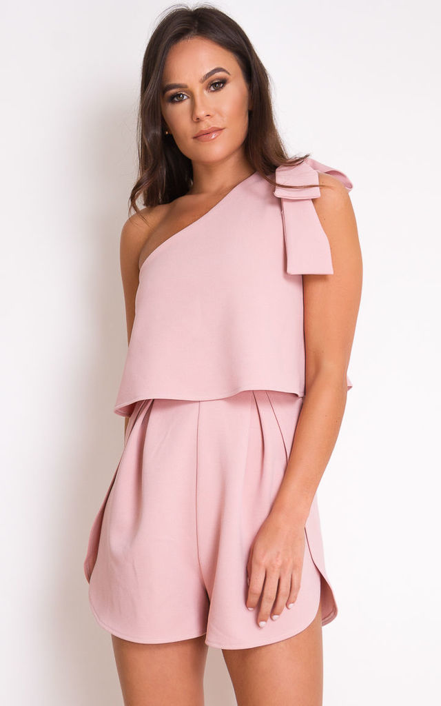Frankie One Shoulder Bow Sleeve Playsuit Mauve by Girl In Mind