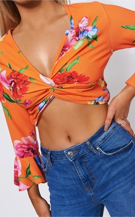 Kia Orange Floral Crop Top by The Fashion Bible