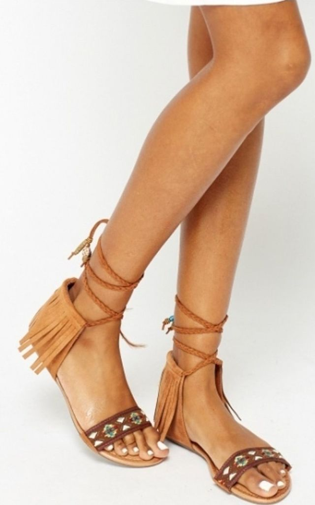 Rodeo Camel Aztec Tassel Sandals by The Fashion Bible
