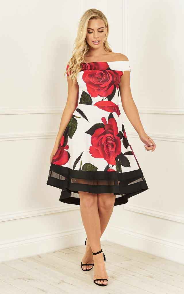 7a2e1e6fc8 Red Rose print off the shoulder skater dress by Lilah Rose