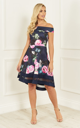 Navy Rose Print Off The Shoulder Skater Dress by Bella and Blue Product photo