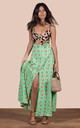 Malibu Dress in Green Daisy and Leopard by Dancing Leopard