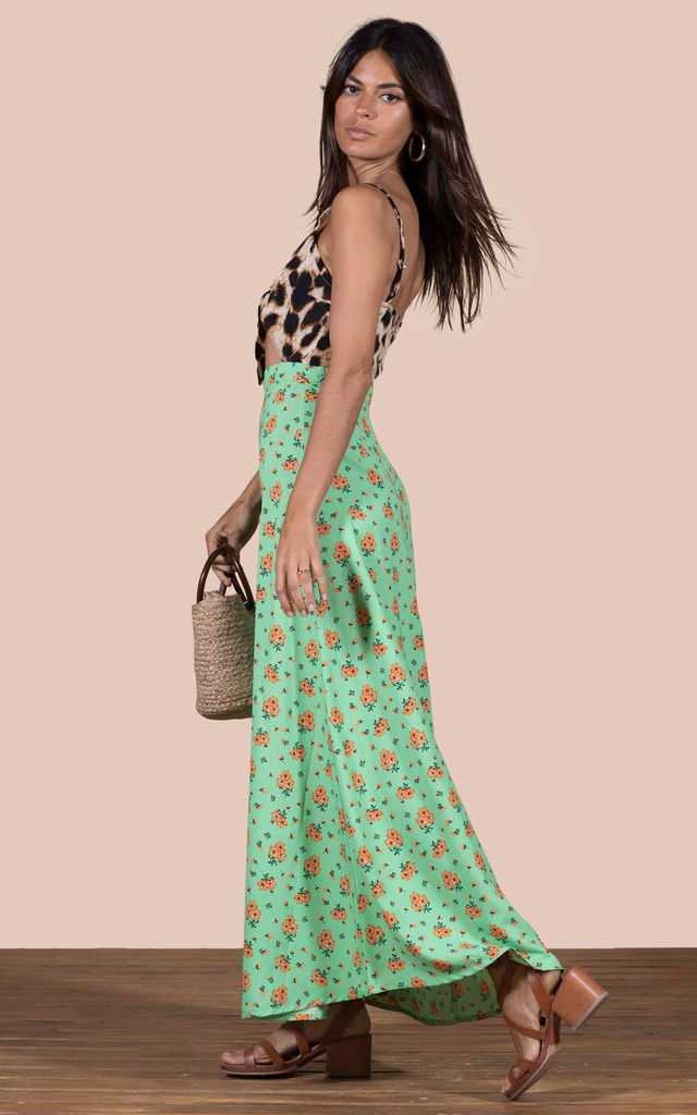 Malibu Dress in Green Daisy and Leopard image