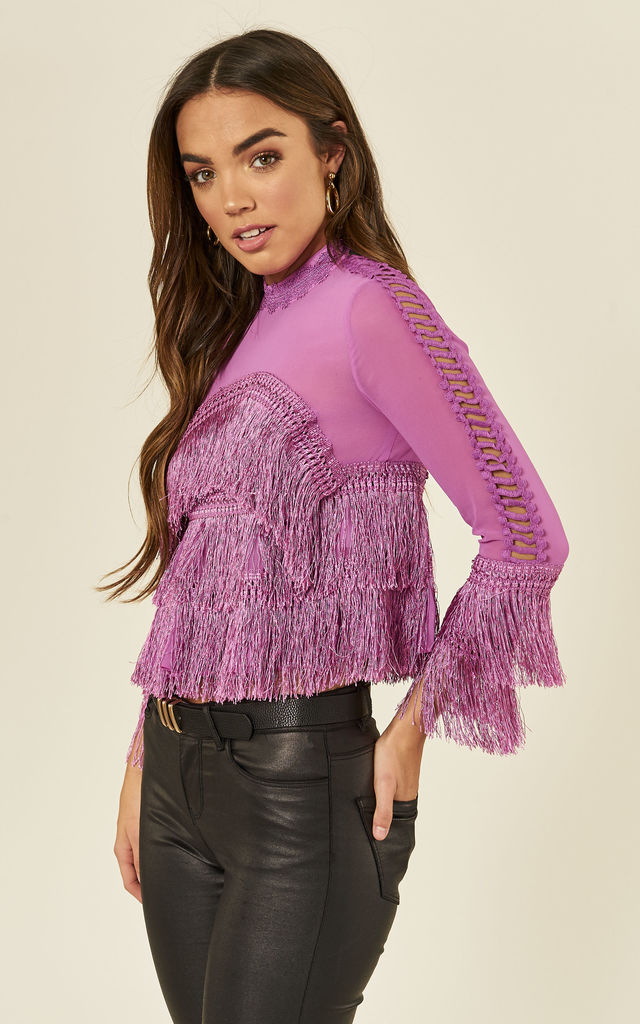 Magenta Tassel Long Sleeve Crop Top by ANGELEYE