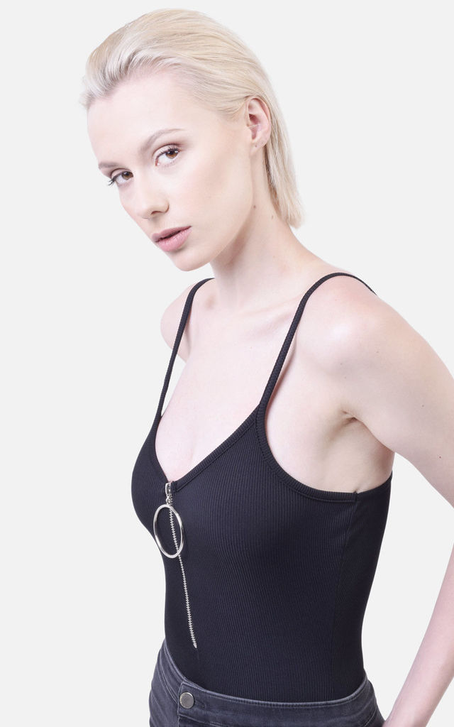 BLACK RIBBED CAMI BODYSUIT by Moth Clothing