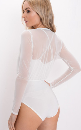 Mesh Plunge Front Bodysuit White by LILY LULU FASHION
