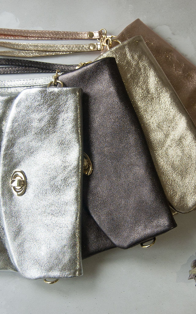 Silver Metallic Leather Clutch Bag by Grace and Valour