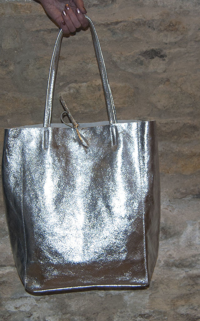Silver Metallic Leather Tote Shopper by Grace and Valour