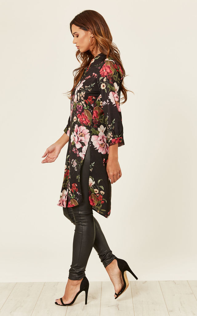 fLORAL 3/4 SLEEVE LONG SHIRT by Store WF