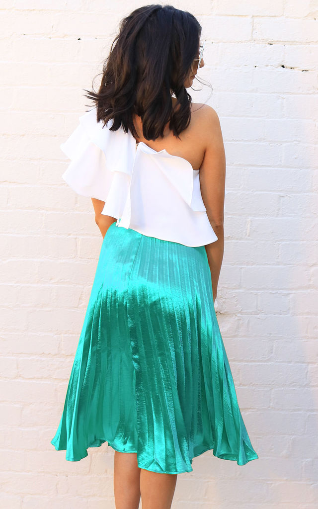 Metallic Satin Pleated Midi Skirt in Turquoise Green by One Nation Clothing