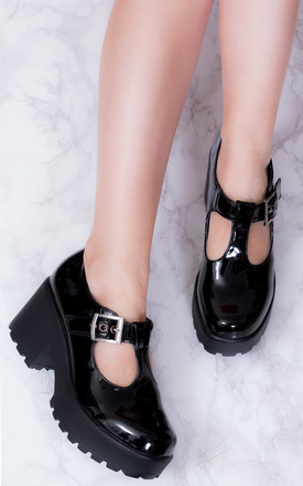 CATTIE Block Heel Ankle Boots Shoes - Black Patent by SpyLoveBuy