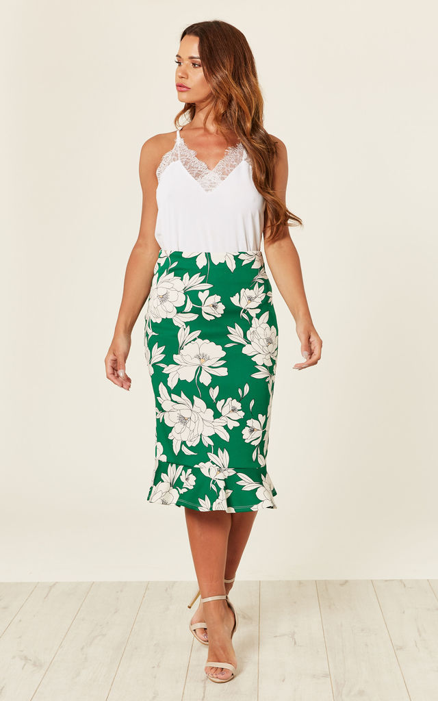 FLORAL FRILL HEM PENCIL SKIRT - Green by Store WF
