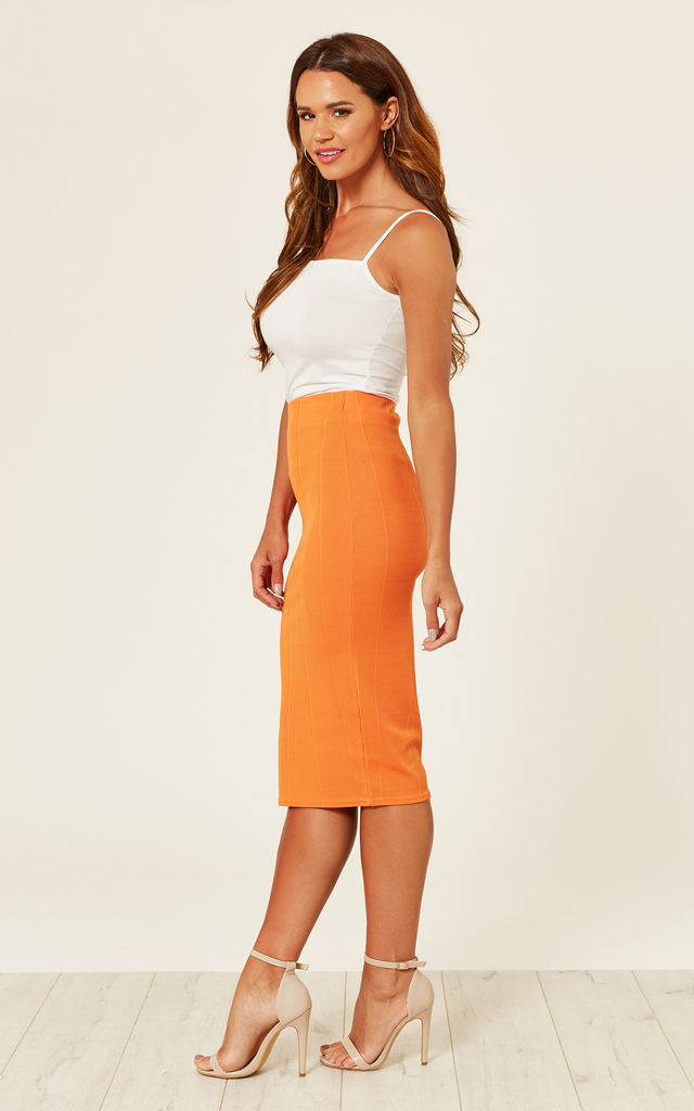 ORANGE PENCIL BODYCON SKIRT by Store WF