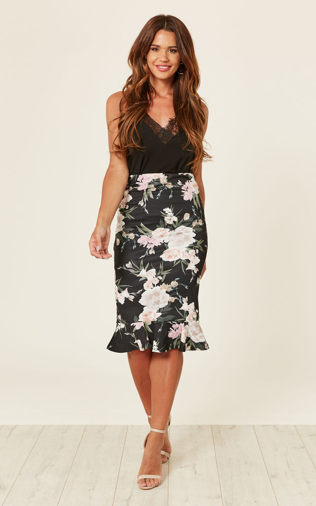 FLORAL FRILL HEM PENCIL SKIRT - Black by Store WF