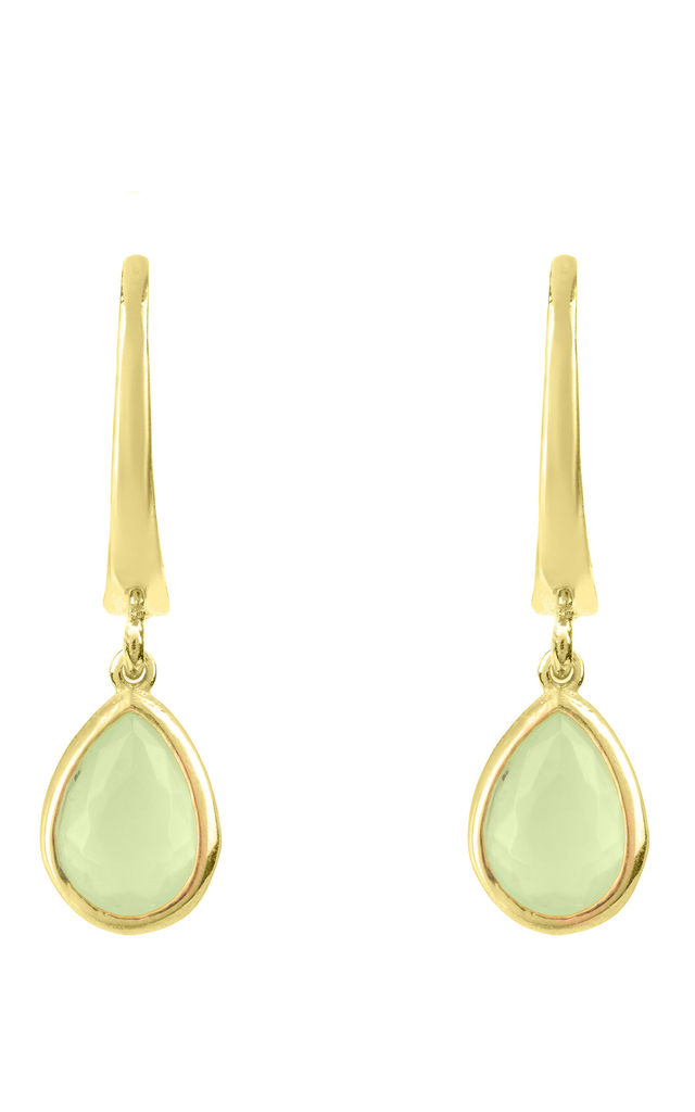 Pisa Mini Teardrop Earring Gold Aqua Chalcedony by Latelita