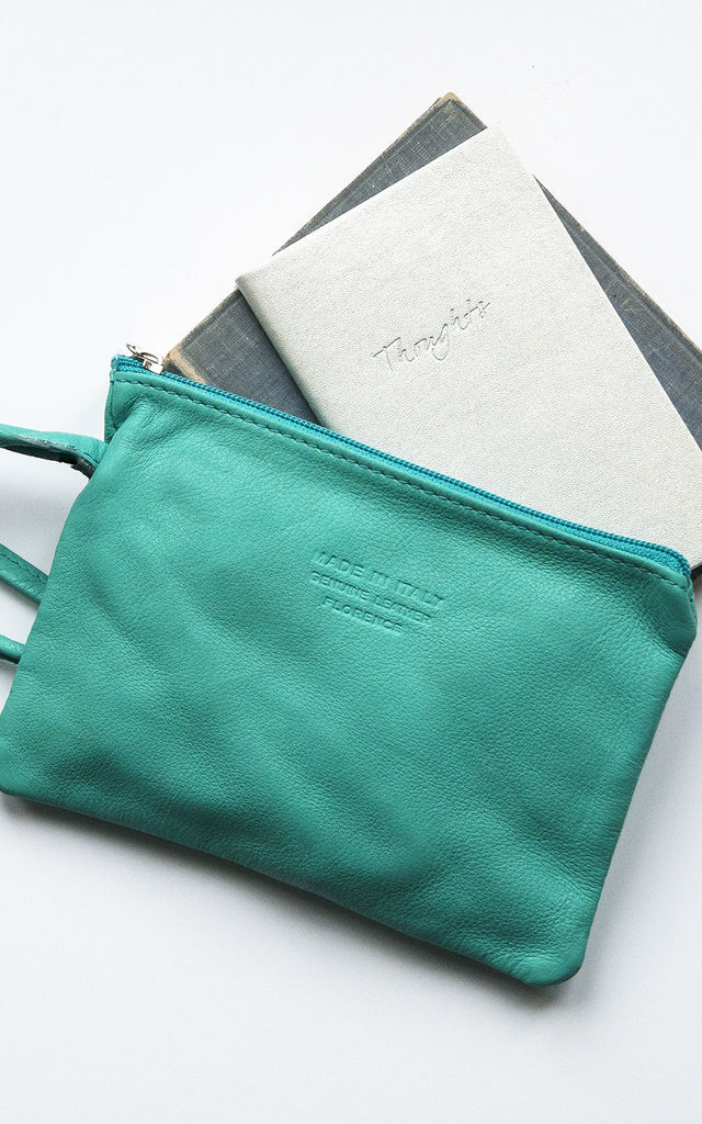 Turquoise Leather Wristlet Clutch by Grace and Valour