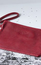 Red Leather Clutch Wristlet by Grace and Valour