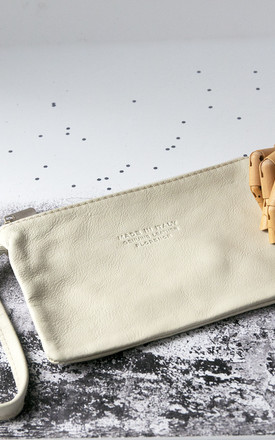 Cream Leather Wristlet Clutch Bag by Grace and Valour