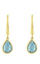 Pisa Mini Teardrop Earring Gold Blue Topaz by Latelita