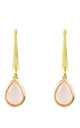 Pisa Mini Teardrop Earring Gold Rose Quartz by Latelita
