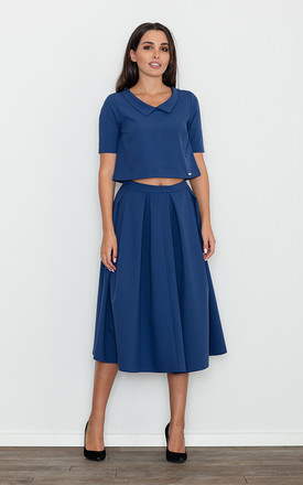 Navy Blouse With a Skirt Set by FIGL