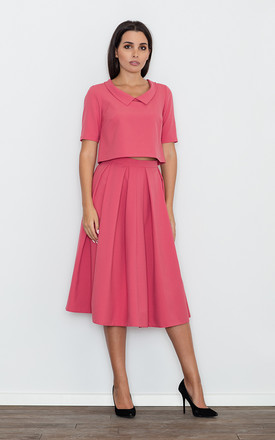 Coral Blouse With a Skirt Set by FIGL